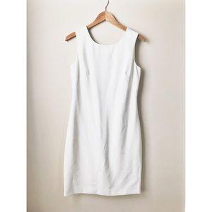 Tahari White silk lined midi